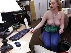 Blonde girl pounded for a...